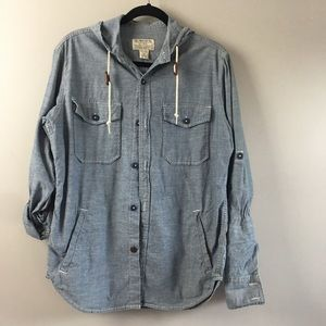 Lucky brand Men chambray shirt hooded.